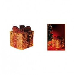 Cutie luminoasa aurie cu panglica rosie Sal KBX 20/G