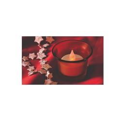 Candela cu LED, in suport de sticla rosie Sal Home CDG 1/RD