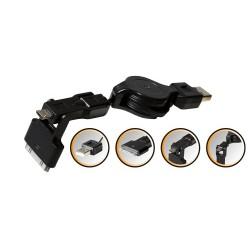 Cablu incarcare USB micro 3in1, poate fi bobinat, Sal Home SA 042