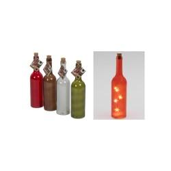 Sticla decor cu ghirlanda LED incorporata, 4 culori, 5 buc LED-uri albe cu lum. calda, efect de stea 3D, 3 x AAA, Sal Home EDC 0